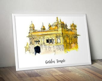 Golden Temple Print, Monument Poster, Art Print, Wall Art, Watercolor Painted Monument