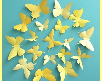 3D Wall Butterflies - 15 Vanilla, Mustard, Lemon, Gold Yellow Butterfly Silhouettes, Home Decor, Nursery