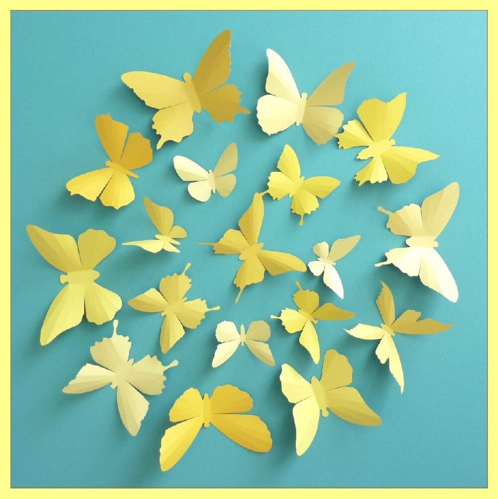 3D Wall Butterflies 15 Vanilla Mustard Lemon Gold Yellow