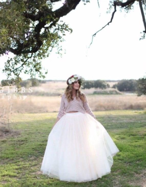 Weißem Tüll sehr voller Länge Brautjungfer Hochzeit Kleid