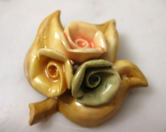 Vintage Jewellery Celluloid 1940s Brooch Pin Floral Pastel Colors  Yellow Pink Green Art Deco