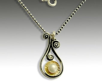Collier en argent sterling, eau douce perle collier, collier en argent or, pendentif abstrait, collier deux tons - petits secrets N4638G
