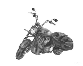 """For Him, Custom Charcoal Drawing of Your Motorcycle or Car - 8""""x10"""", Motorcycle Drawing,  Motorcycle Sketch, Victory Motorcycle"""