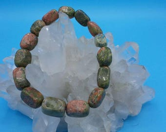 Unakite Nugget Beaded Stretch Bracelet.