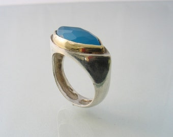 Ocean blue faceted quartz set in gold on silver ring, handmade cocktail and statement ring, made in Canada - Blue Sky Eye Ring.