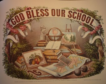 Print - God Bless Our School - - Perfect gift for a teacher or friend - hang in the class room