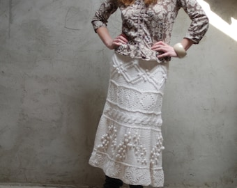 Hand knit long skirt - cable pattern - off-white - lace pattern