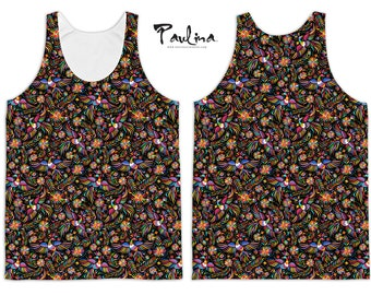 OTOMI Mexican Textile Print Men's Beach Tank Top by Paulina