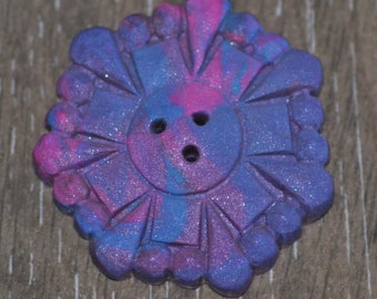 Blue Purple and Pink Geometric Swirled Button - 1 and 1/2 inch Hand Made Molded Three Toned Button - Extra Large Button - OOAK