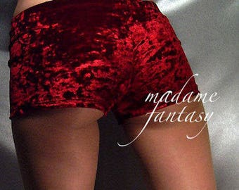 Crushed velour micro shorts hot pants red