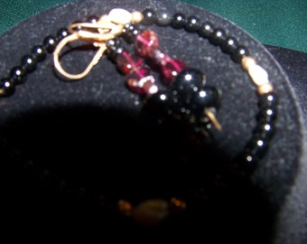 oxyx beads with fresh water pearls bracelet &earrings