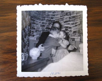 Kissy Face... 1950's Vintage Photo... Original Vintage Snapshot Photograph