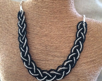 Braided black and silver necklace, bridesmaids necklace, black necklace, black bridesmaids, black bib necklace, silver and black, silver bib