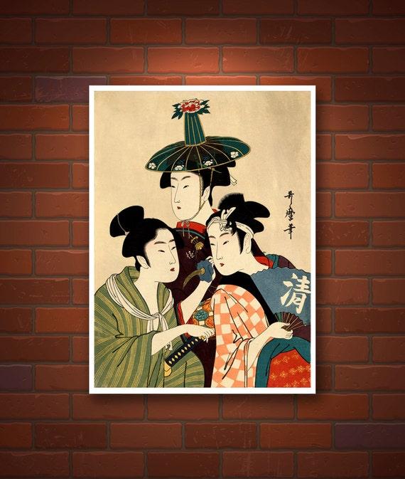 Three young men or women Kitagawa Utamaro FINE ART PRINT.