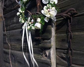 Wedding Hair Crown, Bridal Floral Hair Wreath, White Flower Crown, Handmade Boho Rustic Hair Wreath, Summer Hair Accessory, Floral Wreath