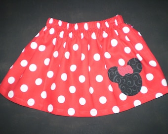 Red Minnie Mouse Skirt  Sizes 6m-7