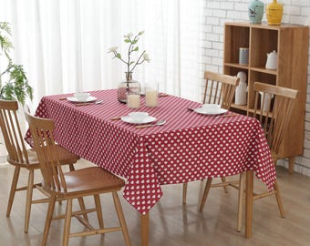"54""x 72 "" Red Love Square Cotton and Linen Tablecloth"