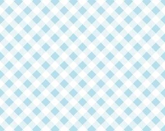 Sew Cherry 2 - Per Yd - Riley Blake - by Lori Holt - Aqua Gingham on white