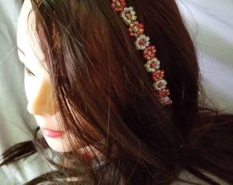 Red headpiece, red headband, bridesmaids headband, bridal headpiece, bridal headband, flower girl headband, wedding hair jewelry