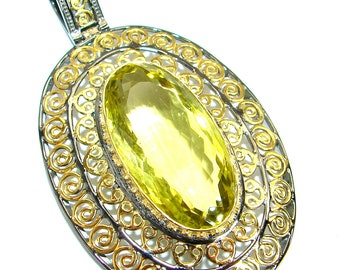 Lemon Quartz Sterling Silver Pendant - weight 22.70g - dim L- 2 7 8, W - 1 5 8, T- 3 8 inch - code 22-maj-18-35