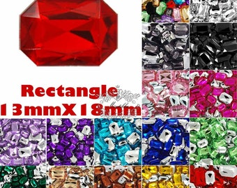 20-100 PCS 13mm X 18mm Assorted Rectangle Crystal Point Back Acrylic Octagon Rhinestone Gemstone Mix Color Black Purple Pink Necklace TD13