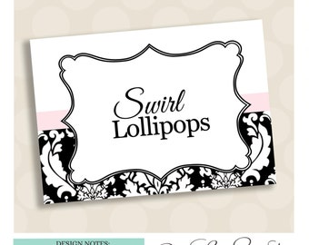 Buffet Labels for candy or dessert buffets. PRINTED IN color of choice. Damask. Emily Collection