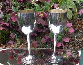 Vintage Silver Wine Goblets, Set of 2 Silver Chalice for Wedding Toast