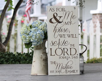Scripture sign, Bible verse art, Christian wall art, As for me and my house, Rustic wood sign,  Last name sign, Personalized wedding gift
