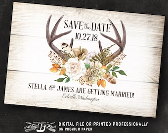 Rustic Save the Date Postcard | Printed or Printable Digital File DIY | Deer Antler Save the Date Postcard | Fall Horns Feather Gold