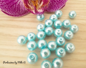 set of 10 or 20 12mm or 8mm turquoise blue Pearl glass beads