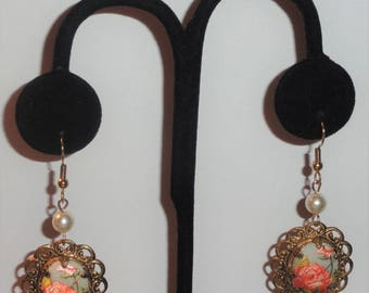 Vintage Repurposed Converted W Germany Scalloped Edge Sugar Coated ROSES Simulated Pearl Drop Dangle Pierced Assemblage Earrings
