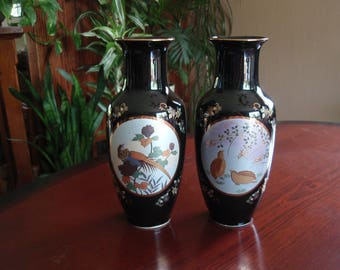 Lovely Pair of Vases, Asian Inspired Fine China from Japan Black with Gold Trim Home and Living décor a2614