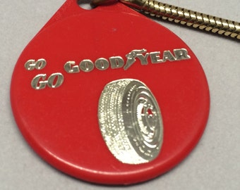 Vintage Goodyear Tire Keychain Red Plastic Advertising