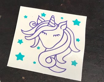 Unicorn and Stars decal