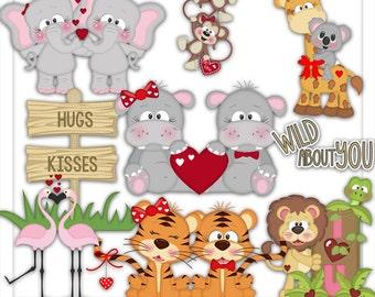 Clipart - Wild About You Clipart - Valentine Clipart - Lion - Tigers - Giraffe - Elephant - Monkeys - Rhino -  Kristi W Designs
