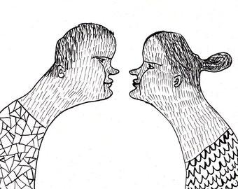 nose to nose  / ORIGINAL ILLUSTRATION / ink drawing