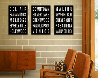 LOS ANGELES Subway Sign Prints. Bus Scrolls (Collection of 3)
