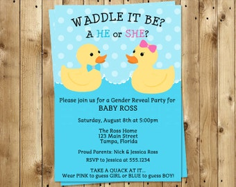 Waddle It Be Gender Reveal Invitations, Ducks, Twins, Rubber Ducks, Splish Splash, Bathtime, Boy or Girl, 10 Printed Invites, FREE Shipping