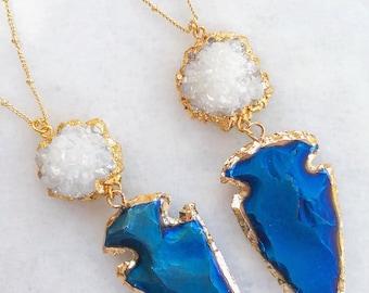 Druzy Arrowhead Necklace   pendant necklace   geode necklace   crystal cluster   gold arrow necklace   blue jasper pendant  