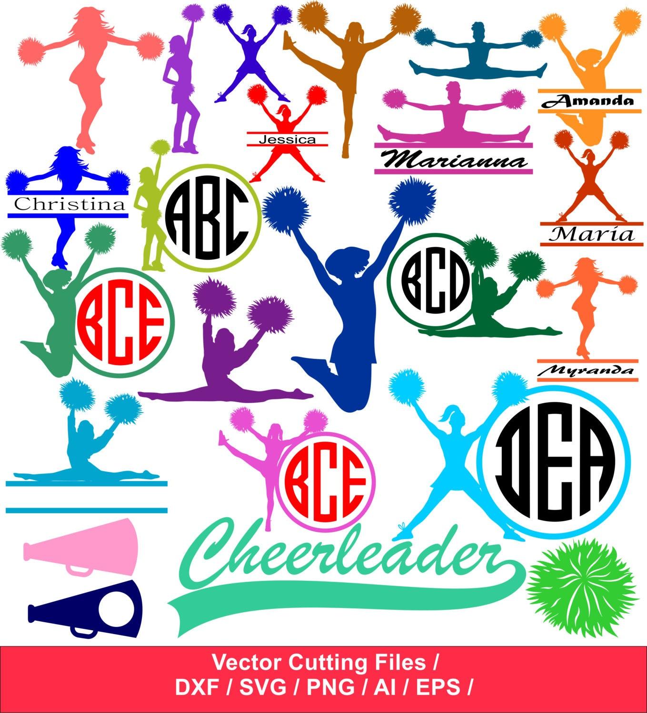 Cheer SVG Cut Files / Cheerleading silhouette / Cheer Monogram ...
