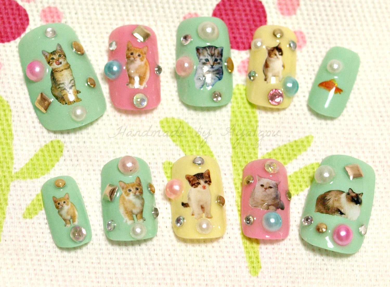 Cat nail, pastel nail, 3D nail, kawaii nail, cats, animal nail, nail ...