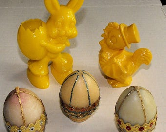Vintage Easter Lot Hard Plastic Chick and Rabbit and 3 Wax Eggs