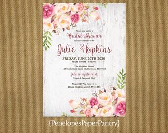 Elegant Rustic Bridal Shower Invitation,Blush,Pink,White Barn Wood,Rustic,Shabby Chic,Personalize,Custom,Printed Invitation,Envelopes