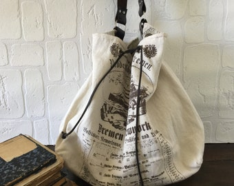 Large Washed Canvas and Leather Tote Bag, Shoulder Bag, Laptop Bag, Slouchy Bag, White Canvas and Brown Italian Leather, Ready to Ship.
