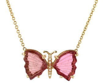 14K Yellow Gold Pink Tourmaline Butterfly Necklace