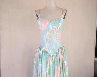 Pastel Floral Sweetheart Brushstrokes Garden Party Dress