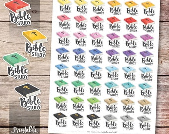 Bible Study Printable Planner Stickers, Bible Study Stickers, Watercolor Bible Planner Stickers, Erin Condren Planner Stickers, Cut File