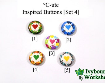 J-Pop / Hello! Project / C-ute Inspired 1-Inch Pinback Buttons [Set 4]