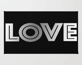 Love Rug - Room Rug - Black and White - Throw Rug - Made to Order