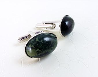 "Gemstone green cufflinks 'Marius' - Kambaba jasper (""crocodile"" jasper) - Oval cufflinks, gift for him, unisex, wedding accessory, handmade"